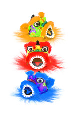Chinese new year colorful lion heads