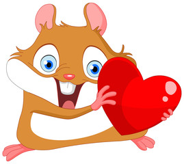 Cute hamster holding a heart