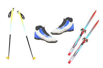 Tourist skis, ski poles and boats