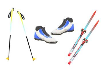 Tourist skis, ski poles and boats