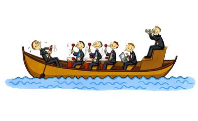 Business-Cartoon: einer rudert, fünf controllen!