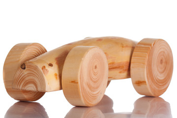 Wood toy car isolated