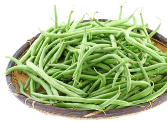 vannerie haricots verts fond blanc
