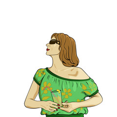 illustration of girl in a blouse  with a glass