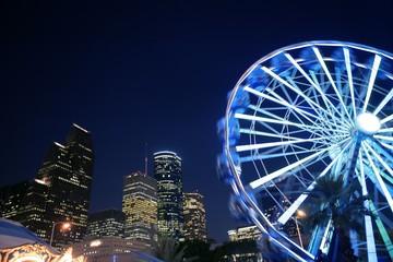 Fototapete - Ferris wheel at the fair night lights in Houston
