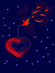 fantasy postcard with phoenix and red abstract heart