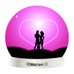 young couple inside in globe