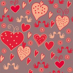 Seamless romantic pattern with hearts and birds