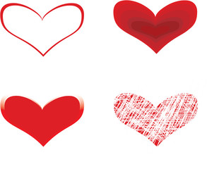 four red hearts  over white background