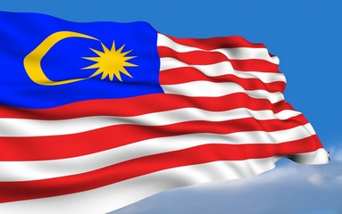 Malaysian Flag waving on wind.