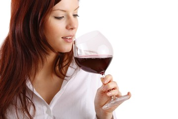 woman with a bottle wine and a wineglass