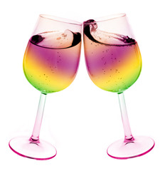 Isolated abstract colored wine glass with wine over a white back
