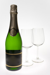 Merry Christmas and happy New year. Pair of champagne flutes mak