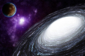 Spiral galaxy in deep space - abstract background