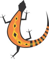 A colourful lizard turning backwards