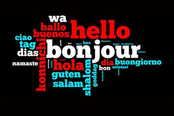 """Nuage de mots """"bonjour"""" dans toutes les langues"""