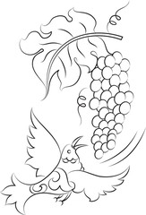Calligraphic Bird with Grapes