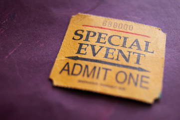 Ticket stub for Special Event, shallow DOF