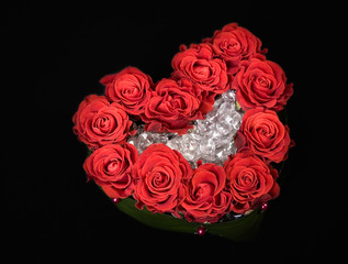 Valentine's day rose decoration bouquet isolated on black
