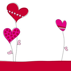 3 Herzblumen rot