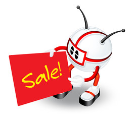 3d character with sale board