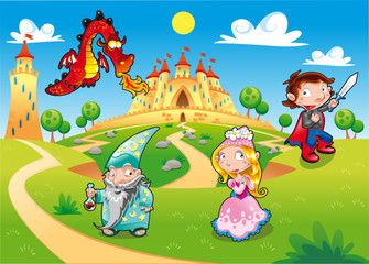 Fotobehang Kasteel Funny cartoon illustration with background.