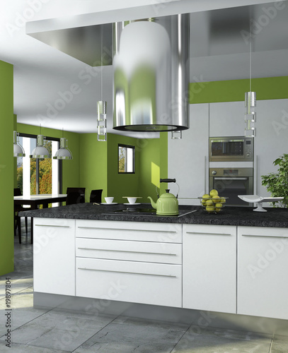 cuisine americaine verte photo libre de droits sur la. Black Bedroom Furniture Sets. Home Design Ideas