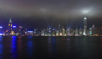 Symphony of lights show in Hong Kong at night