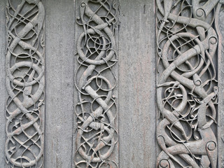 Viking carvings from Urnes viking Church