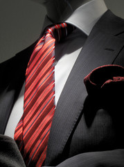 Striped grey jacket with red tie and handkerchief (vertical)