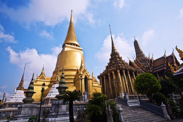famous temple Phra Sri Ratana Chedi in the inner Grand Palace