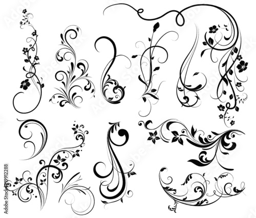 Floral Silhouette Element For Design Vector Tattoo Stock Image