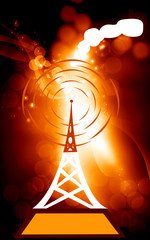 Illustration of antenna tower in blue background