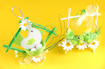 Easter background with birds and flowers