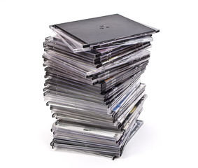 Pile of optical disc cases