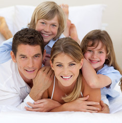 Happy family having fun together