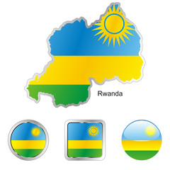 vector flag of rwanda in map and web buttons shapes