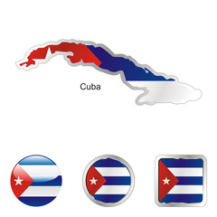 vector flag of cuba in map and web buttons shapes