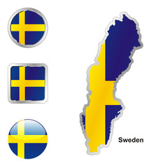 vector flag of sweden in map and web buttons shapes