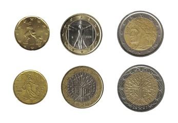 euro coins, france and italy