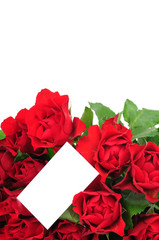 Bunch of red roses an greeting card