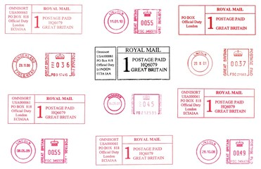 UK, postage meters, rubber stamps 2000s