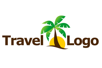 Travel agent logo: palm and sun