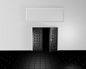 puertas negras y pared blanca