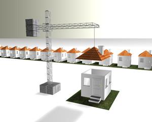urbanizacion y grua con casa