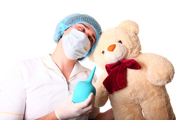 M.D. with teddy bear