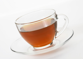 Cup with tea on white background