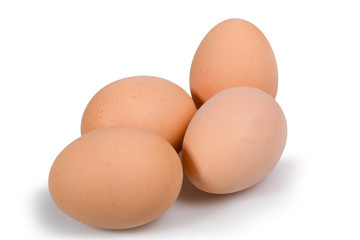 eggs lying down on a white
