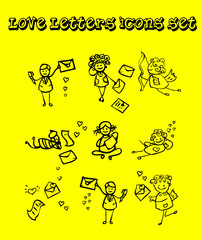 Letters of love icons set, tattoo design style, yellow backgroun