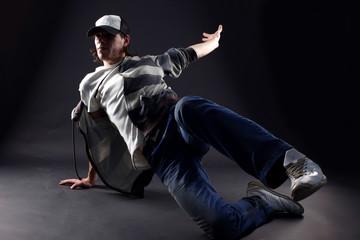 man modern dancer against black